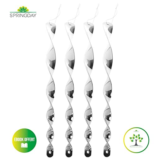 Springday - 4 espirales repelentes de pájaros Reflectantes para ...