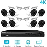 LaView 16 Channel Ultra HD 4K Home Security Camera System with 8 x 8MP IP Bullet Cameras, 100ft Night Vision, Weatherproof Expandable Surveillance Camera System NVR 3TB HDD
