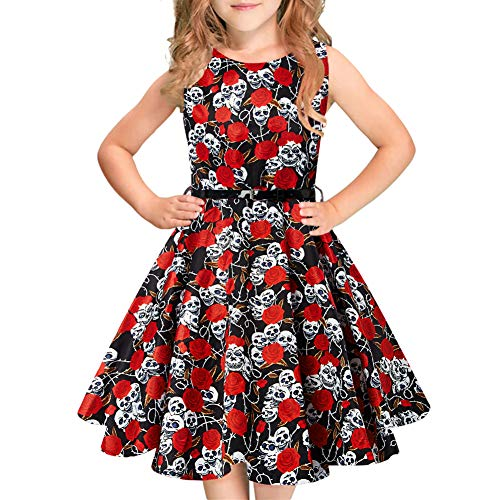 Print Senza 9 maniche Swing Abiti Floral vestito Vintage Rockabilly ragazza festa Idgreatim da Floral wqC0OH