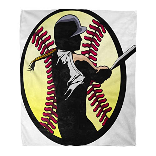 Emvency Throw Blanket Warm Cozy Print Flannel Girl Softball Batter Hitting Home Run Silhouetted in Fast Pitch Baseball Comfortable Soft for Bed Sofa and Couch 50x60 Inches