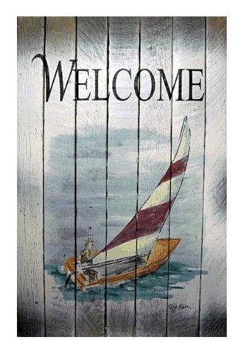Coastal Wall Art - Sailboat Welcome Sign - Nautical Wooden Slat Sign