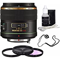 Pentax Telephoto 55mm f/1.4 DA SDM Autofocus Lens + 3 Piece Filter Kit + Deluxe 3pc Lens Cleaning Kit + Lens Cap Keeper 6AVE Bundle