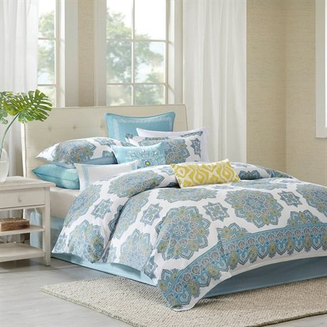 Echo Design Indira Comforter Set, Queen, Aqua