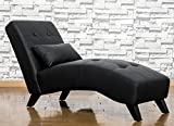 Merax Luxurious Stylish Design Lounge Chaise Sofa Chair ,Soft Sleeper Bed (Leather & Suede, Black)