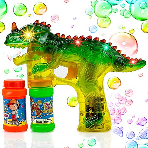 Toysery Dinosaur Bubble Shooter Gun Light Up Bubbles Blower with LED Flashing Lights and Sounds Dinosaur Toys for Kids, Boys and Girls.3 AA Batteries Included]()