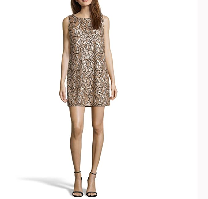 Vestido Chic con lentejuelas Bronze et noir S