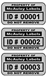 5000 Custom 1.5'' x .75'' Metalized Silver Polyester Asset Tags / Labels Various Quantities ''Featuring Easy Do It Yourself Design''