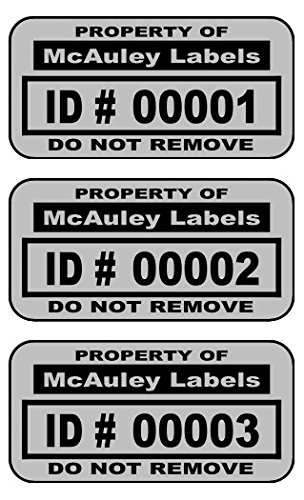 500 Custom 1.5 x .75 Metalized Silver Polyester Asset Tags/Labels Various QuantitiesFeaturing Easy Do It Yourself Design