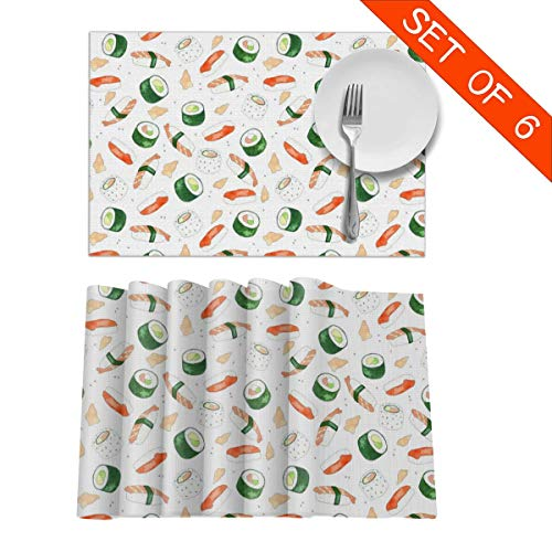 GIxilijie Placemats Sushi Feast Heat Insulation Non Slip Plastic Kitchen Stain Resistant Placemat for Dining Table Set of 6