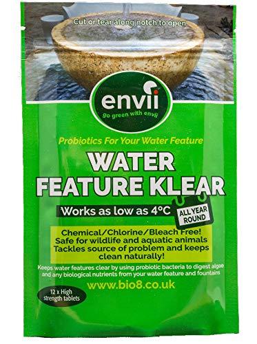 Envii Water Feature Klear - Traitement Anti-Algues Pour Fontaines et Cascades Décoratives, Nettoyeur et Éliminateur, Fonctionne à Une Température Basse Jusque 4°C - 12 Tablettes Bio8