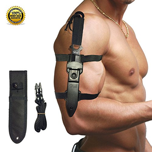 Hok Tactical Knife Two Nylon & ABS Sheath and Adjustable Leg Strap Stainless Steel Blade for Diving, Hiking, Hunting and Survival