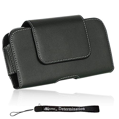 William Classic Black Vegan Leather Belt Clip Hip Holster [332] for Samsung Galaxy S10 S10e S10+ S9 S8 J7 J3 A8 A6 Smartphones + eBigValue HandStrap -