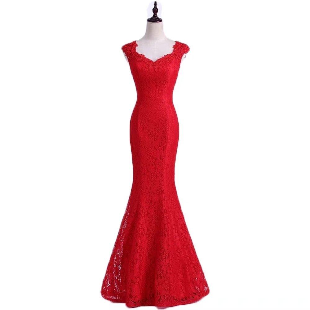 Pandorawedding Women's 2017 Fine Straps Floral Bridesmaid Dresses Retro Lace Waist Prom Dresses Tailing Mermaid Elegant Evening Dresses Red,26