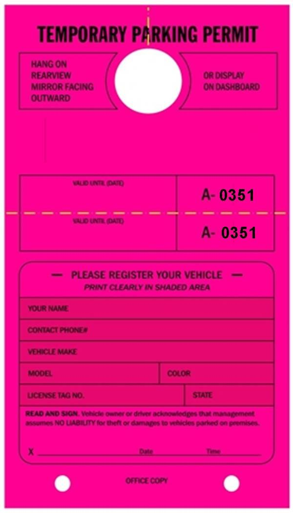 Temporary Parking Permit - Mirror Hang Tags, Numbered with Tear-Off Stub, 7-3/4'' x 4-1/4'', Bright Fluorescent Pink - Pack of 50 Tags (0351-0400)
