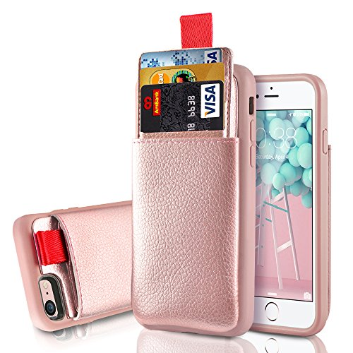 Price comparison product image iPhone 8 / 7 Wallet Case,  iphone 8 / 7 Card Holder case,  LAMEEKU Shockproof Apple 8 Leather case with hidden Credit Card Holder,  Protective cover For Apple iPhone 8 / iPhone 7 4.7inch Rose Gold