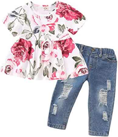 a86b362e88 Kehen Toddler Infant Baby Girls 3pcs Summer Outfits Mini Dress + Denim  Stretch Jeans Destroy Ripped