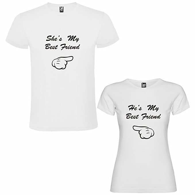 DALIM Pack de 2 Camisetas Blancas para Parejas, Shes my Best Friend y Hes my