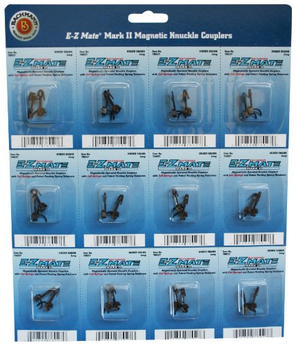 Bachmann Trains E - Z Mate Mark II Magnetic Knuckle Couplers with Metal Coil Spring - Under Shank - Long (12 Coupler pairs per card) - HO - Spring Ho Scale Knuckle