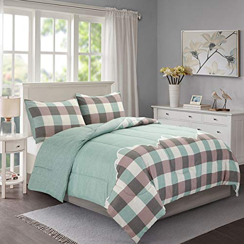 (HollyHOME Bed in a Bag Comforter Set Full Queen Size 3 Pcs Green Checkered Plaid Pattern Printed All Season Comforter)