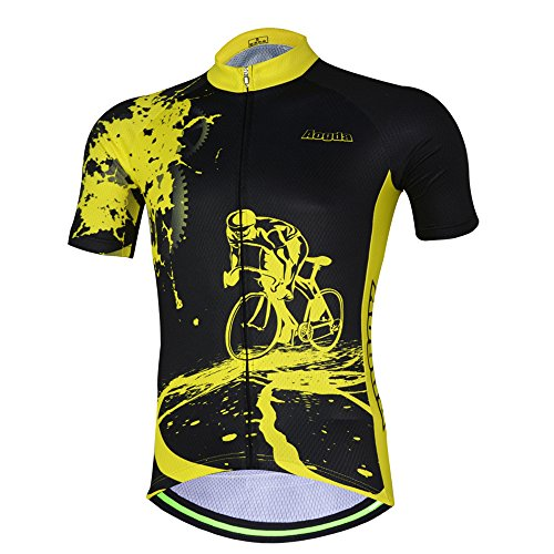 -  Men Cycling Jerseys Yellow Shirts Breathable Quick Dry Jacket Short Sleeves Suit  Aogda Team Cycling Clothing White (Black Jerseys, Small)