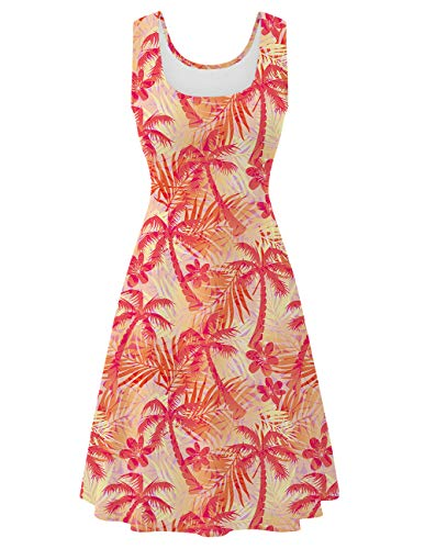 Uideazone Women's Sleeveless Summer Casual Hawaiian Tropical Dress -