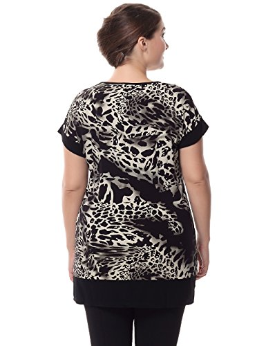 Chicwe Women's Plus Size Short Sleeves Leopard Print Tunic with Contrast Neck Cuff 26, Black