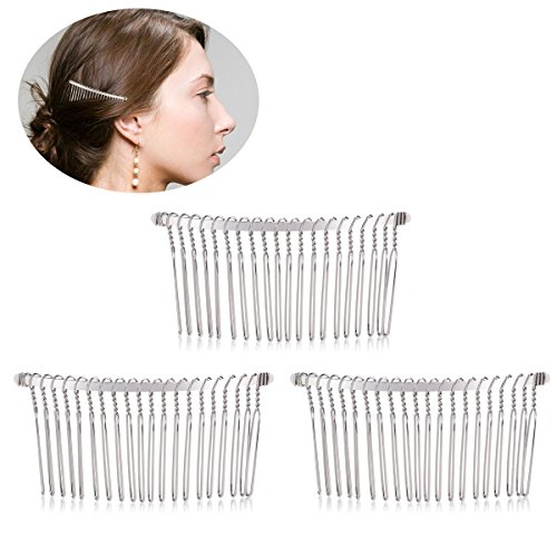 TinkSky 3pcs 7.8cm 20 Teeth Fancy DIY Metal Wire Hair Clip Combs Bridal Wedding Veil Combs (Silver)