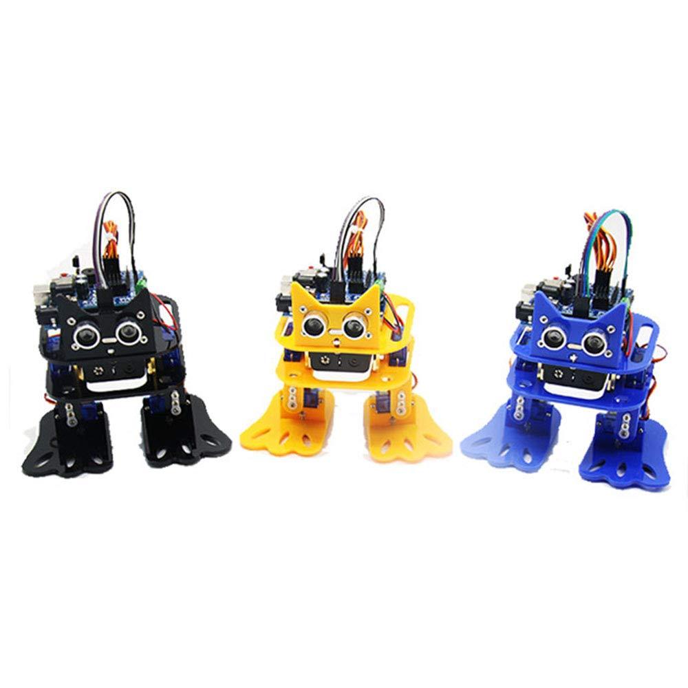 Luckgo DIY 4Dof ウォーキング Rc ロボット Arduino グラフィカルプログラミングブルートゥースコントロールスマートロボットおもちゃ-黄色 B07QYC4M4Q 黄色