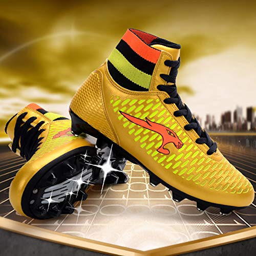 bf400145b WEJIESS Boy s Men s Turf High Top Cleats Soccer Shoes Lightweight Sock  Ankle Care Athletic Football Lace