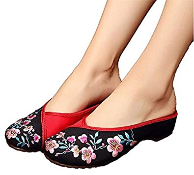 ZYZF Womens Peach Blossom Embroidery Hot Drilling Flats