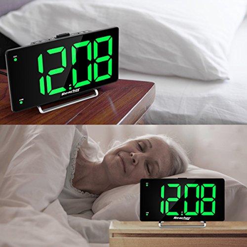 """Large Alarm 9"""" LED Digital Alarm Port Dimmer for Seniors Big Number Green for"""