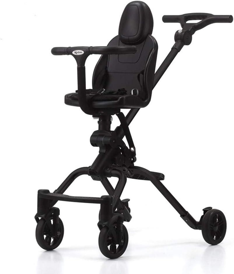 多機能ベビーカーライトアルミフレーム二方向四輪衝撃吸収赤ちゃんアーティファクトシートは360度回転することができますダイニングチェアとして使用することができます12-36ヶ月,Black