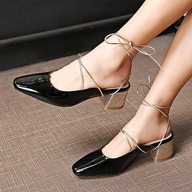 Robusto Club black Vestido Negro Tacón Sandalias del Zapatos Mujer y Informal Bermellón Noche ligaosheng Boda Fiesta Semicuero awqXxfE