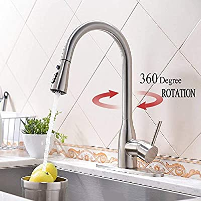 """Stainless Faucet MSTJRY Commercial Kitchen Faucet with Pull Down Sprayer 16.5""""Dual Function Stream and Spray Head Deck Plate Included"""