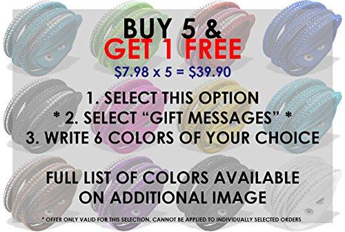 Luna Sosano Crystal Double Wrap-Around Bracelet with Beautiful Stones - Buy 5, Get 1 Free