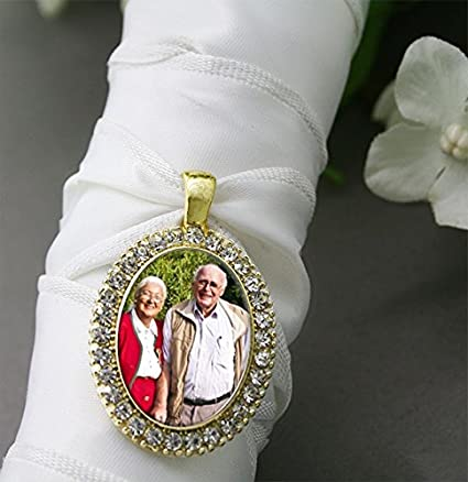 Amazoncom Bridal Wedding Bouquet Photo Charm Gold Oval Rhinestone