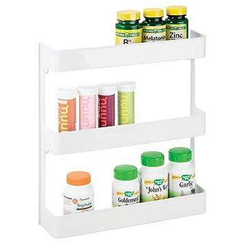 MetroDecor mDesign Organizador de medicamentos – Estantería de Pared con 3  estantes – Baldas para baño 563fea6e6480