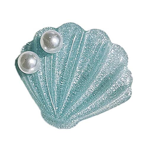 Women Sweet Sea Shell Faux Pearl Inlaid Resin Hair Clip Hairpin Party Barrette - Blue