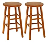 Winsome Wood Assembled 24-Inch Cherry Finish Kitchen Stools, Set of 2