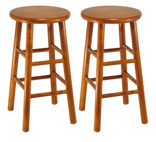 Winsome Wood Assembled 24-Inch Cherry Finish Kitchen Stools, Set of 2 75284