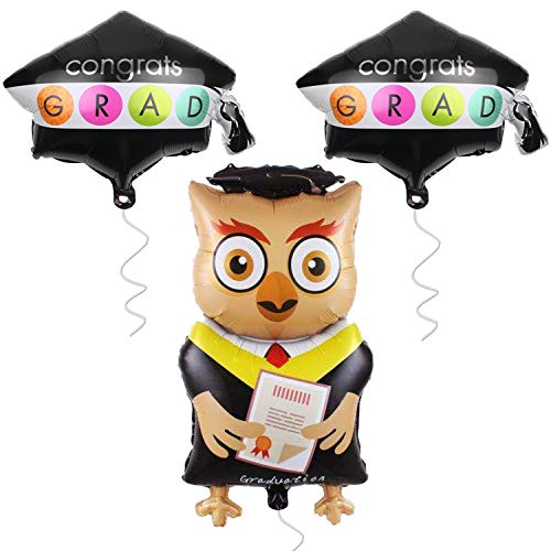 Congrats Grad Cap Balloon with Graduation Owl Balloon - Pack of 3 | Helium Suported Mylar Foil Balloons | Grad Owl Holding Graduation Diploma | Gradution Balloons for Graduation Party ()