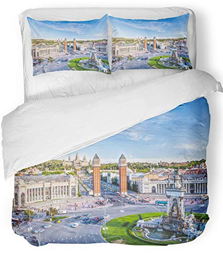 Emvency Bedsure Duvet Cover Set Closure Printed Decorative City View of the Center Barcelona Spain Panorama Bus Cathedral Fountain Travel Breathable Bedding Set With 2 Pillow Shams Full/Queen Size by Emvency