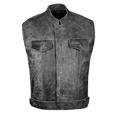 (SOA Men Motorcycle Vintage Distressed Club Concealed Gun Pockets Biker Vest L )