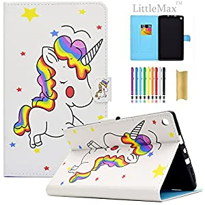 Kindle Fire HD 8 Case,LittleMax PU Leather Case Flip Stand Protective Auto Wake / Sleep Cover for Amazon Kindle Fire HD 8 7th Gen & 6th Gen with Free Stylus-02 Cute Unicorn