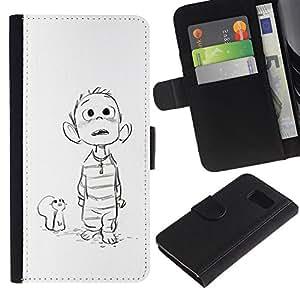 LASTONE PHONE CASE / Lujo Billetera de Cuero Caso del tirón Titular de la tarjeta Flip Carcasa Funda para Samsung Galaxy S6 SM-G920 / mouse drawing white sketch boy movie