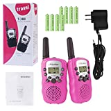 Rheshine Kids Walkie Talkies, Rechargeable Walkie Talkie for Kids 2 Miles(3KM) Long Range 22 Channel 0.5W FRS/GMRS 2 Way Radios with US Charger and Rechargeable Batteries (Pink, 1 Pair)