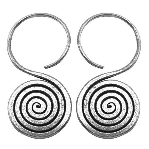 Thai Karen Hilltribe Coil Earrings Pure Silver