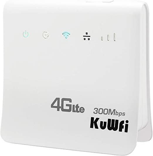 KuWFi 300Mbps 4G LTE CPE Unlocked 4G CPE Wireless Router with SIM Card Solt with Antenna for Most Asia Europe Africa Middle East and South America Oceania Countries