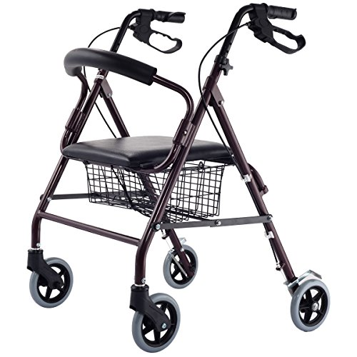 Giantex Drive Rollator Rolling Medical Walker Folding W/Basket Soft Seat Adult Health
