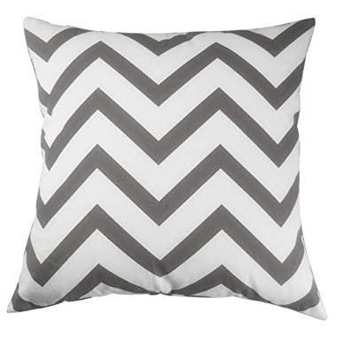 Decor Scandinavia Canvas Cotton Chevron Design Decorative Throw Pillow Cover 18 X 18 in. (Charcoal Gray) (18x18inch, color2)